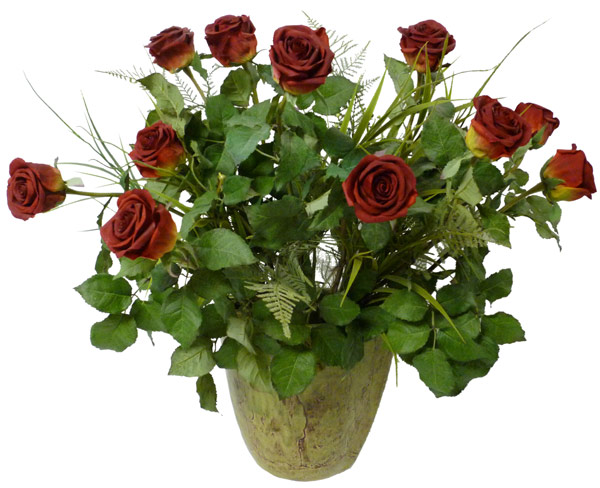 12 Premium Silk Roses in Ceramic