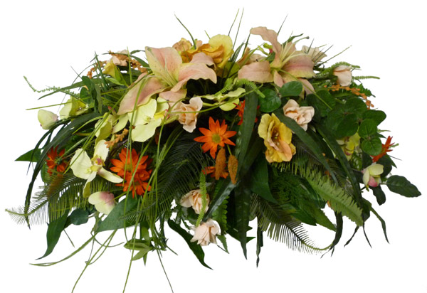 Silk Tombstone flowers & holder(W2)
