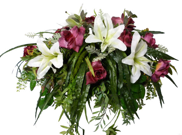 Silk Tombstone flowers & holder(W3)