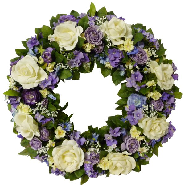 Purple & White Silk Wreath