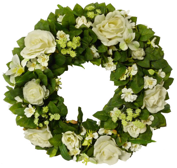 White & Green Silk Wreath